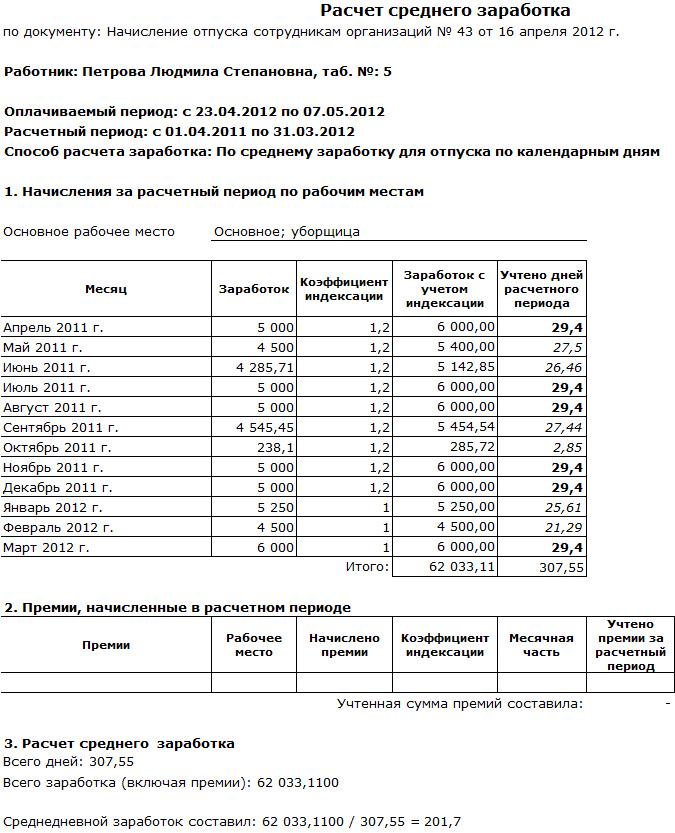 Расчет компенсации за неиспользованный отпуск при увольнении в 2017г